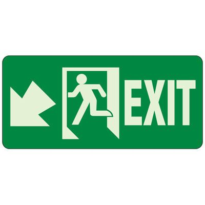Glow In The Dark Exit Egress Sign