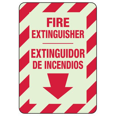 Bilingual Fire Extinguisher Glow Sign