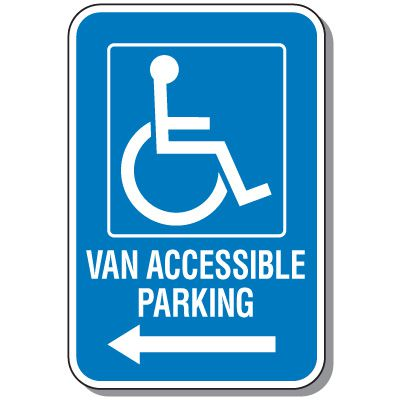 Handicap Parking Signs - Van Accessible Parking (Left Arrow)