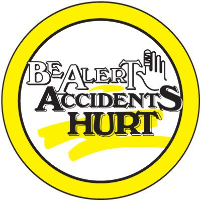 Safety Training Labels - Be Alert Accidents Hurt