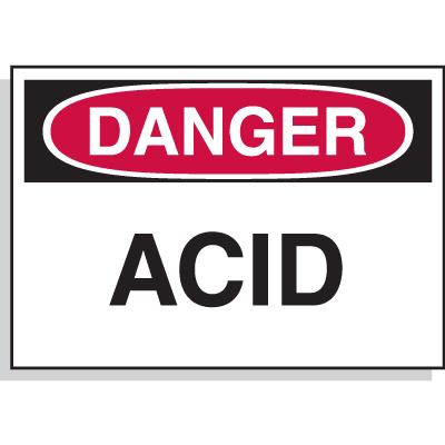 Hazard Warning Labels- Danger Acid