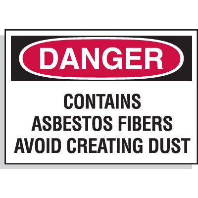 Hazard Warning Labels - Danger Contains Asbestos Fibers Avoid Creating Dust