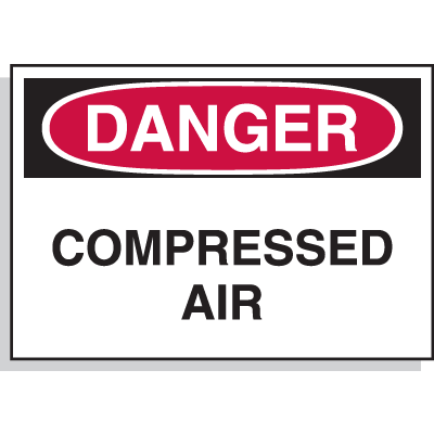 Hazard Warning Labels - Danger Compressed Air