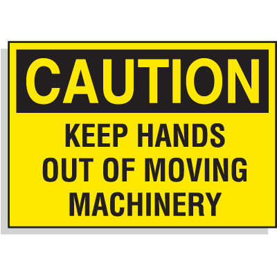 Hazard Warning Labels - Caution Keep Hands Out Of Moving Machinery