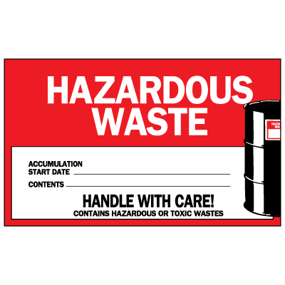 Hazardous Waste Handle With Care - Container Labels