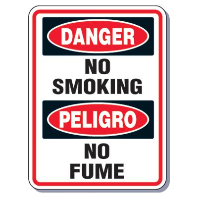 Heavy-Duty Smoking Signs - Bilingual - Danger No Smoking/Peligro No Fume
