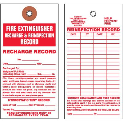 Fire Extinguisher Tyvek Tag