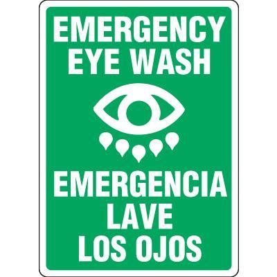 Bilingual Emergency Eyewash Sign