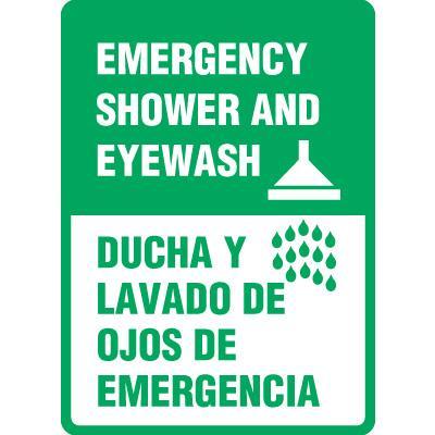 Bilingual Emergency Shower And Eyewash Sign