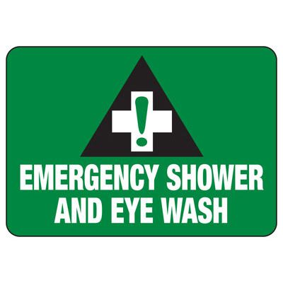 Shower, Eyewash & First Aid Signs - Emergency Shower and Eye Wash