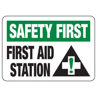 Shower, Eyewash & First Aid Signs - Safety First First Aid Station