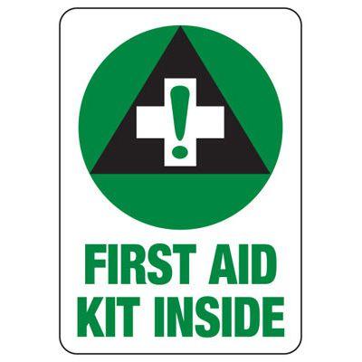 Shower, Eyewash & First Aid Signs - First Aid Kit Inside