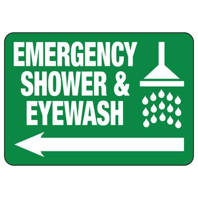 Emergency Shower Arrow Sign