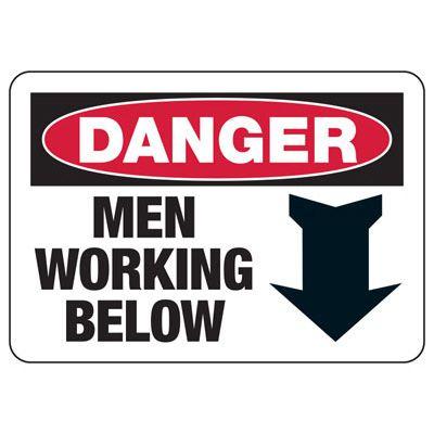 Danger Men Below Construction Signs