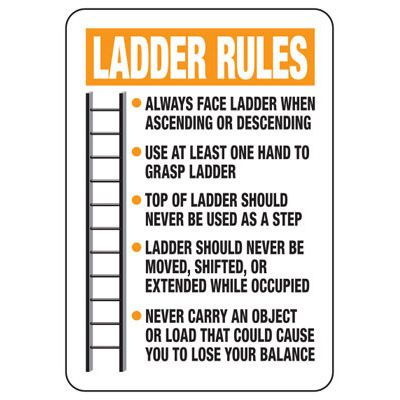 Ladder Rules Construction Safety Signs