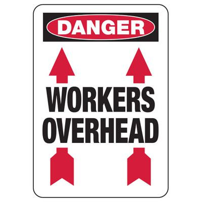 Danger Workers Overhead Construction Signs