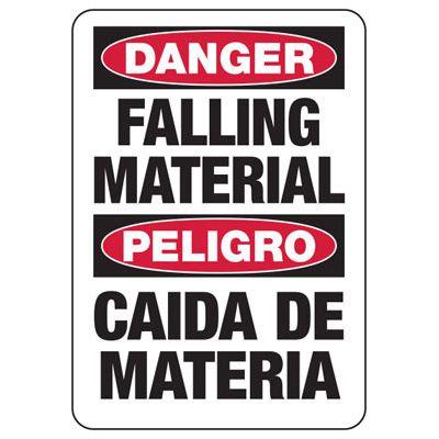 Bilingual Danger Falling Material Construction Signs