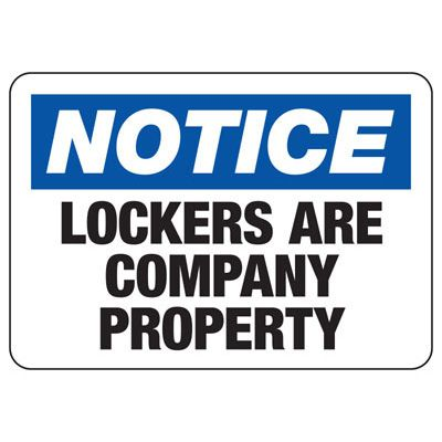 Notice Lockers are Company Property Sign