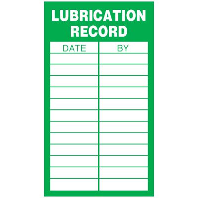 Inspection Record Labels - Lubrication Record
