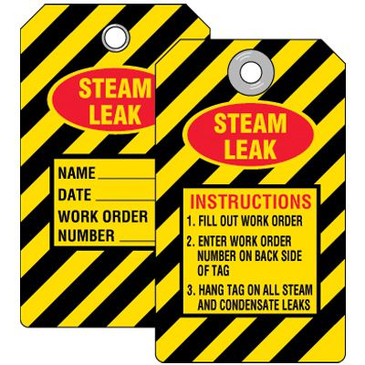 Steam Leak Instructions Tag