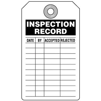 Inspection Record Black Tag