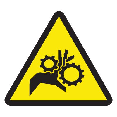 ISO Warning Symbol Labels - Gear Entrapment Hazard
