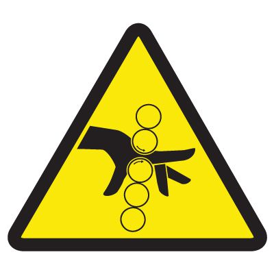 ISO Warning Symbol Labels - Pinch Point Hazard