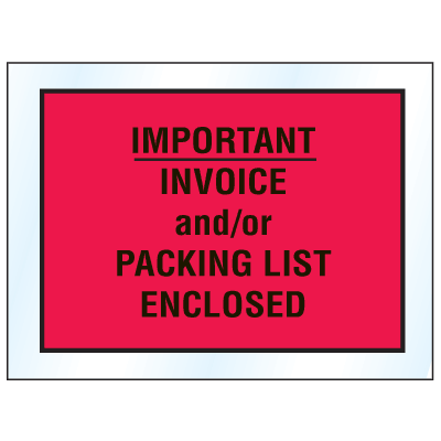 Invoice And Packing List Envelopes - Important Invoice