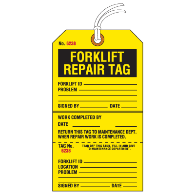 Jumbo Cardstock Tear-Off Safety Tags - Forklift Repair Tag