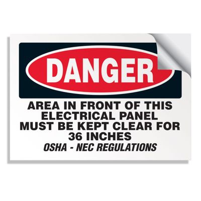Keep Area Clear - Voltage Warning Labels