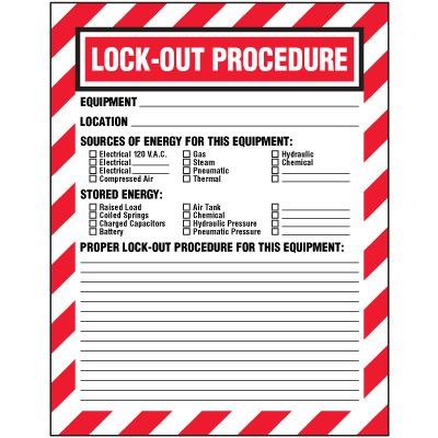 Pre Printed Replacement Lock Out Procedure Sign Inserts