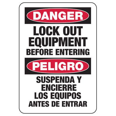 Lock-Out Signs - Bilingual Danger Lockout Equipment