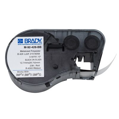 Brady BMP51/BMP41 M-92-428-BB Label Cartridge - Black on Light Gray