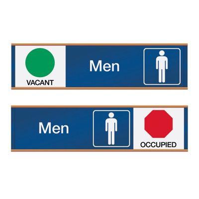Men Vacant/Occupied - Engraved Restroom Sliders