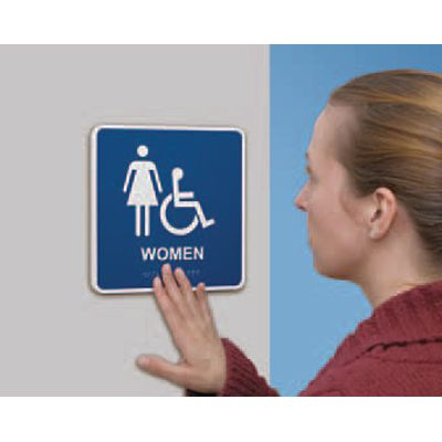 Men w/ Dynamic Accessibility Graphic - Graphic Braille Signs