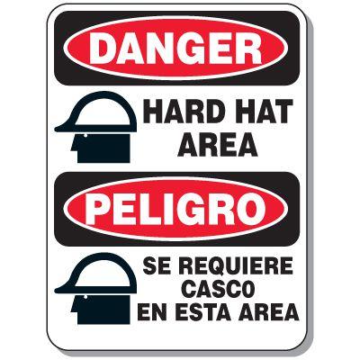 Bilingual Danger Hard Hat Area Signs