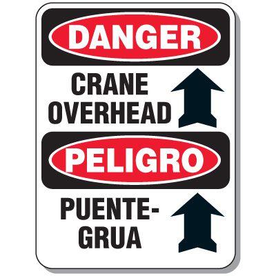 Crane Safety Signs - Danger Crane Overhead (Bilingual)