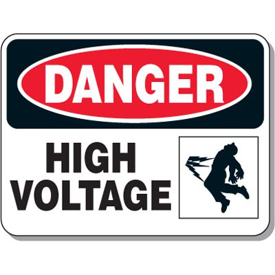 Electrical Safety Signs - Danger High Voltage with Graphic