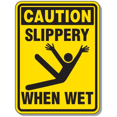 Slipping & Tripping Signs - Caution Slippery When Wet
