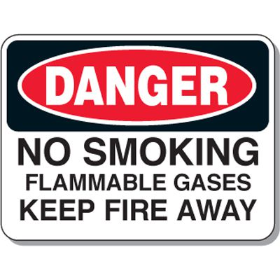 Chemical & Flammable Signs - Danger No Smoking Flammable Gases