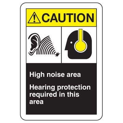 ANSI Format Multi-Message Hazard Sign - Caution High Noise Area