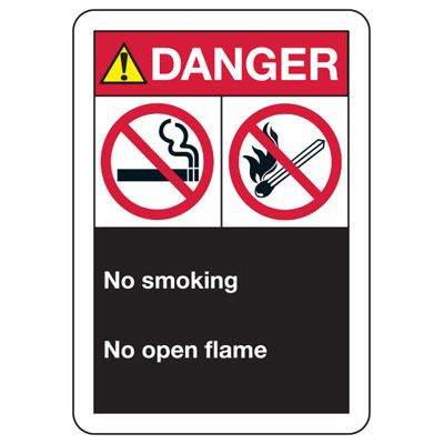ANSI Format Multi-Message Hazard Sign - Danger No Smoking