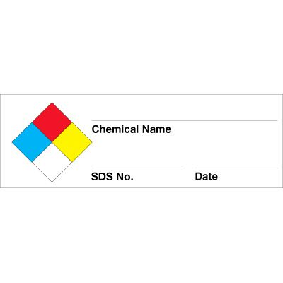 NFPA 704 Chemical Name Labels