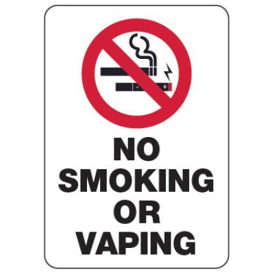 No Smoking or Vaping Sign (w/ Graphic)