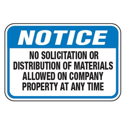 No Solicitation Or Distribution - Property Protection Signs