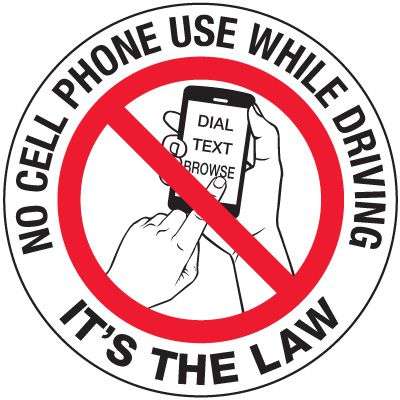 No Texting Security Labels - No Cellphone It's The Law