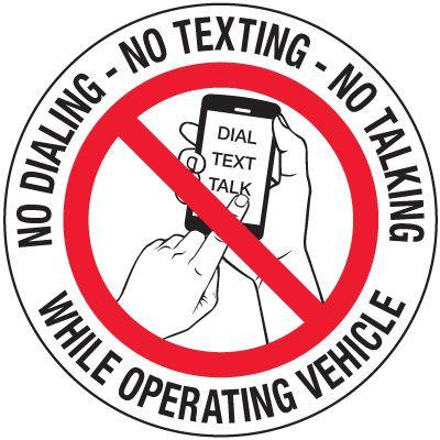 No Texting Security Labels - No Dialing No Texting No Talking