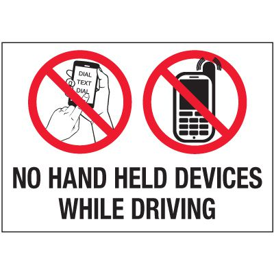 No Texting Security Labels - No Hand Held Devices