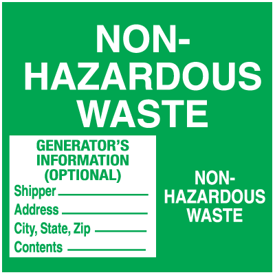 Non-Hazardous Waste - Container Labels