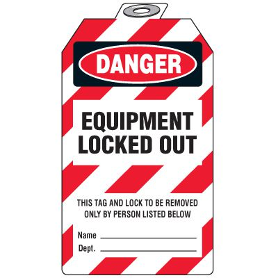 Danger Equipment Locked Out (Padlock Tag)